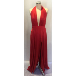 Red satin up halter with slit