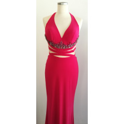 Hot pink stretch with open...