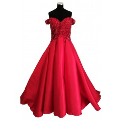 Red off shoulder Ballgown