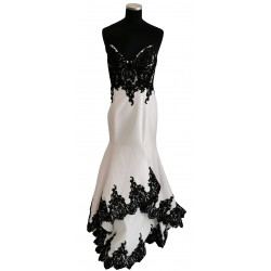 White with black lace mermaid