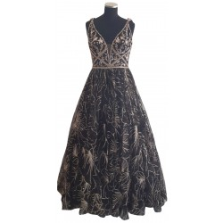 Black with gold bead Ballgown