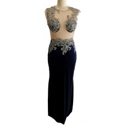 Navy blue velvet with lace