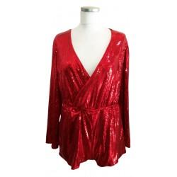 Red sequin bodysuit
