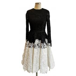 Black lace bodice white...