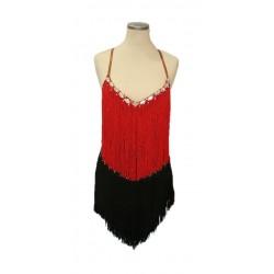 Black & red fringe bodice...
