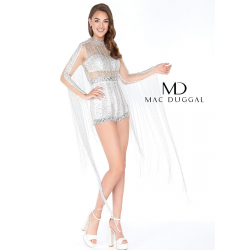 Silver body suit with long...